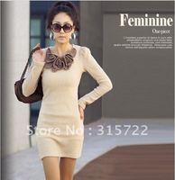 New Fashion Mini Long Sleeve Butterfly Flower Woollen Sweater Short Skirt Dress A-014