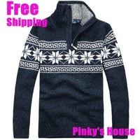 2013 Christmas men's fashion sweater thickening half zipper WINTER AUTUNM sweater outerwear  male 4 colors M#S002 Free SHIpping