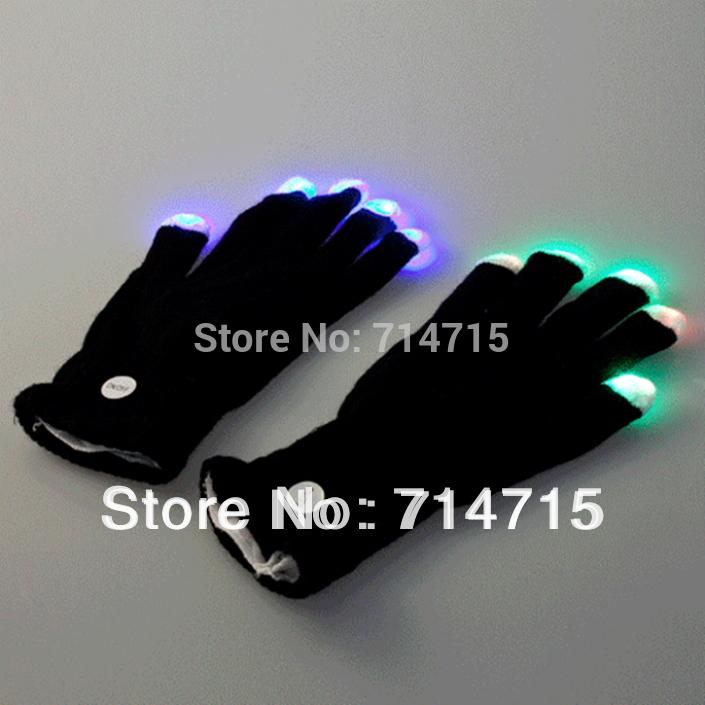 1pair 7 Mode LED Gloves Rave Light Finger Lighting Flashing Glow Mittens black Free / Drop Shipping(China (Mainland))