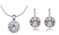 18KRGP White Rhinestone  Necklace  Earrings set  Make With Swarovski Elements