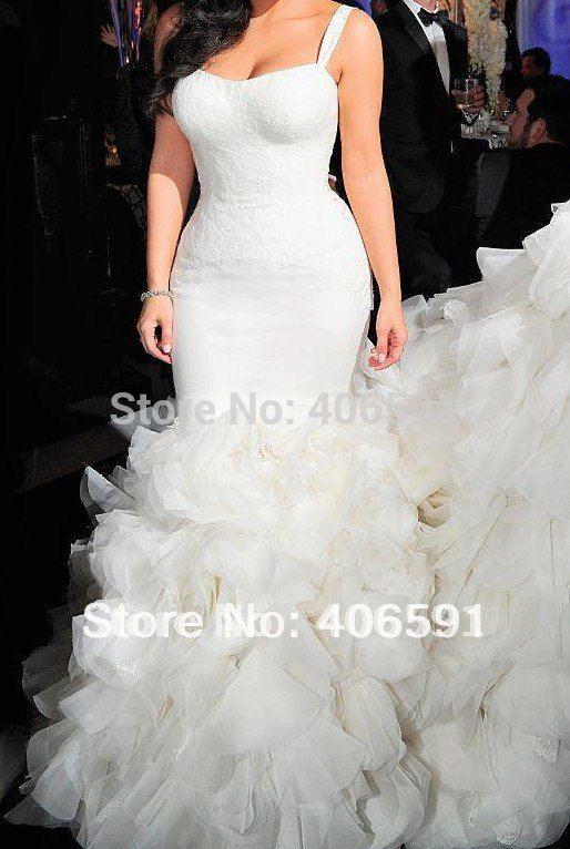 Kim Kardashian Mermaid Wedding Gown : Free shipping kim kardashian bridal mermaid fishtail wedding dresses