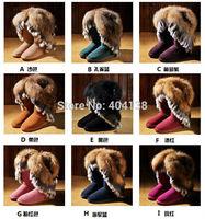 20 Colors Brand genuine leather warm winter Rabbit plush Fur Mid-Calf suede snow women Boots Good quality plus size 34-43