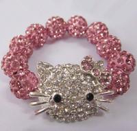 Gifts Bags!Hot Sale Rhinestone Children Jewelry Pink Hello Kitty Shamballa Bracelet Bangle Kids Bracelet Wholesale Charm