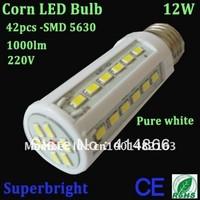 4pcs/lot 12W corn led bulb light 42leds SMD 5630 led 1000lm 220V energy saving ROHS CE indoor lampFree shipping