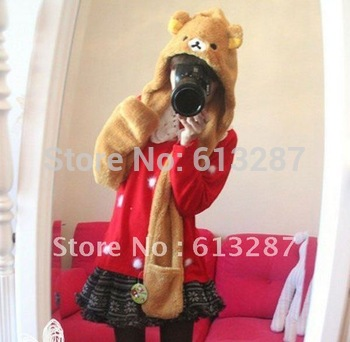 Free Shipping Kawaii Plush Rilakkuma Easy Bear Scarf, Hat & Glove Multi-Function,Novelty Gift,Christmas Gift Retail