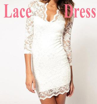 Fashion Vintage Ladies'  Sexy V-Neck Slim Middle Sleeve Mini Lace Dress Stretch party evening elegant