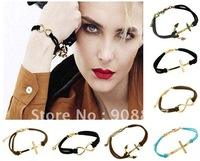 New Arrival,Hot Fashion Vintage Cross/The Infinite Symbol/Anchor Bracelet,Brief Multicolor Leather Bracelet,Free Shipping