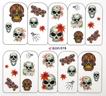 Halloween Nail Decals Mask Skull Nail Art Wraps 30 sheets/lot Free Shipping