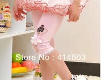 Wholesale 5pcs Baby Girls Summer Lace Leggings, Kids dancing pants, Childrens slim Leggings, Color white&pink