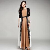 2013 Autumn women's lace patchwork color block long dress original design chiffon long dress nude color floor length maxi dress