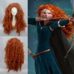 New 2012 MERIDA BRAVE Movie Disguise LONG Orange Curl Hair Cosplay Wig ,Quality Assrance(China (Mainland))
