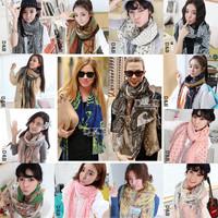Min.order is $5(mix order) 2014 Women Winter Scarf Fashion Style Silk Scarf Polka Dot Leopard Scarf Cotton Scarf 180x80cm, 80512