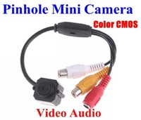 Micro Mini CCTV Camera Pinhole Video Audio Color CMOS Monitor Free Shipping