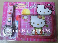 New Free shipping 10pcs/lot  hello kitty girl's love watch Wristwatches and purses Wallet
