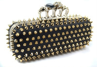 Free Shipping 2012 fashion skull ring spikes day clutch purse high quality clutch rivet durian evening bag with shoulder chain