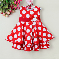 2013 Brand Toddlers Dress White And Red Dot Girl Princess Dress Christmas Costumes Children Summer Dress 6PCS/LOT GD21008-  12^^EI