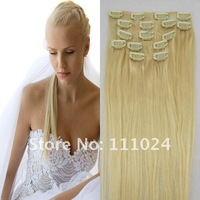 "16""18""20""22""24""26""#613 BLONDE LONG REMY CLIP IN HUMAN HAIR EXTENSIONS 70-120g/SET china whole sale and retail factory price"