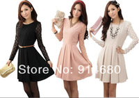 Free shipping !2014 Spring Autumn  Korea Women long sleeve slim dress Leisure one piece dress(Send belt)