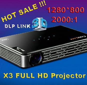 Cheaper !! X3 COOLUX Full HD Portable Mini DLP Micro multimedia real DLP Link  shutter 3D Projector with HDMI, VGA AV USB, TF
