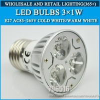 Wholesale 250PCS High power led Bulb Lamp E27 3W 6W Dimmable AC85-265V Warm White/Cold white Free Shipping