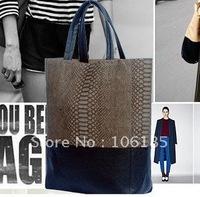 2014 HOT fashion trendy snakeskin leather handbag for women constrictor vintage large capacity fashion big designer handbag bags