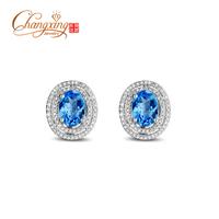3.69ct Flawless Swiss Blue Topaz Diamond Earrings 14k Gold Fine Jewelry  Free Shipping