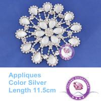 High quality Rhinestone applique   lace CPAM free 1pcs/bag 11.5cm length use for garment wedding dress Christmas decoration