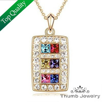 JS N001 Fashion Necklace 2014 Gold And Silver Plated Crystal Jewelry Nickel Free Pendant Necklace Christmas Eve Gifts