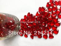 Free shipping 12MM Heart Shape Acrylic Valentines Table Diamonds 100pcs/lot dark red