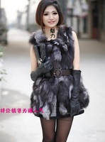2013 Women's new fashion style real natural silver fox fur vest long design sleeveless  waistcoat winter woman clothing