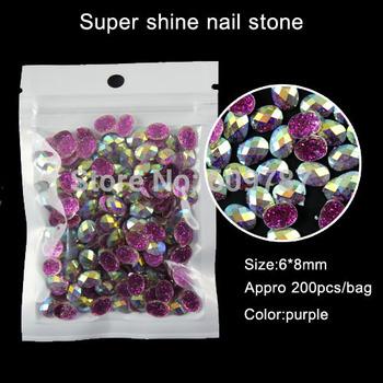 purple 200pcs Oval Rhinestone Jewellry Beads Gem Stones