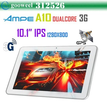 AMPE A10 Dual core tablet pc built in 3G 10.1inch IPS Qualcomm Cortex-A9 1.2GHz WCDMA Phone Call