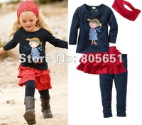Retail Hot Sale Baby Girls Kids Clothes 4 PCS/Set Cotton Dress Top+Leggings 1-5Y Outfit Costume NWT Spring Autumn Skirt
