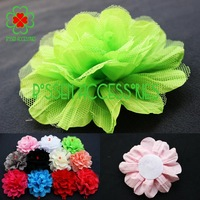 Free shipping! 20pcs/lot 12cm mesh with crumpled fabric diy flower