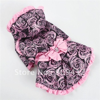 Noble Rose Bowknot Dog Dress For Winter Pet Clothing Dog Windbreak The Great Quantity The Lower Price