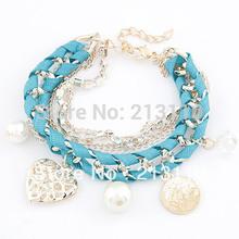 2015 Hottest Pearl Crystal Fashion Love Heart Gold Charm Bracelets Women Pulseiras Femininas Pulseras Mujer Bijoux