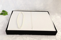Jewelry Display Box Pearl Necklace Holder Case Silver Chain Organizer Display Tray White and Black Velvet