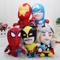 1set 7inches 5pcs/set Free Shipping 5 Styles The Avengers Plush Soft Stuffed Doll Toy