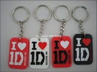 I Love 1D Keychain,  One Direction Key Ring,  Silicon Keychain, 3 Colours, 50pcs/Lot, Free Shipping