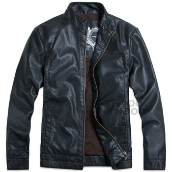 THOOO New Wholesale HOT GENTLEMEN'S Black pu leather classic fashion Slim Coat Motorcycle jacket szie M L XL 2XL 3XL 4XL 5XL