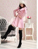 2013 mounted in the Korean version of the newest ladies ' large zip around wallet woolen cloth ruffles Barret coat wool coat
