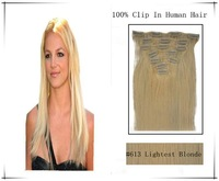 "18""- 26"" Full Head Remy Clip in Human Hair Extension #613 lightest blonde 10pcs 120g"
