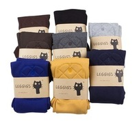 Free shipping 2014 New Women's Leggings Fashion Casual Cotton Cat Design Slim Stretch 9 Minutes Pants 7 Colors