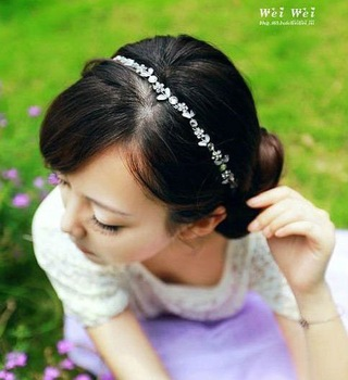 Fashion Korean Style Hair Accessories Sweet Crystal Flowers Hair Band HJ009 Free shipping