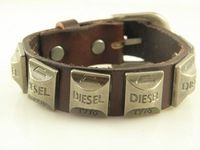 Great Seller Mens Leather Wristband Bracelet Leather Jewelry Wholesale price Xmas Gifts