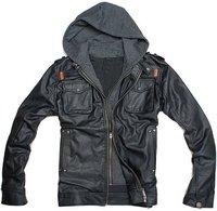 2012 THOOO new  wholesale Short Hooded PU leather jacket Blacks MEN'S JACKET coat Racing M L XL 2XL 3XL 4XL 5XL