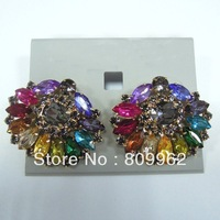 Free Shipping 6prs/lot Colorful Crystal Earrings Fashion Western Style Earrings Best Quality Multicolour fashion earrins