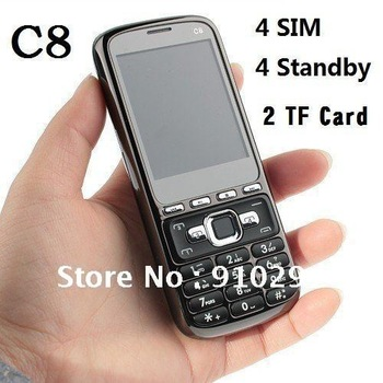 wholesale C8 phone unlocked quad band 4 sim cards TV mobile phone Free shipping