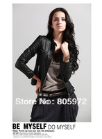Free Shipping 2013 Autumn Winter Pu Brand Strips Button Zipper Ladies' Motorcycle Jackets Women'  Faux Leather Coats 12D10156