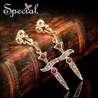 Special Golden Alloy Long Dangle Earrings Free Shipping Royal Cross Earrings Gift For Women EHA09A2502
